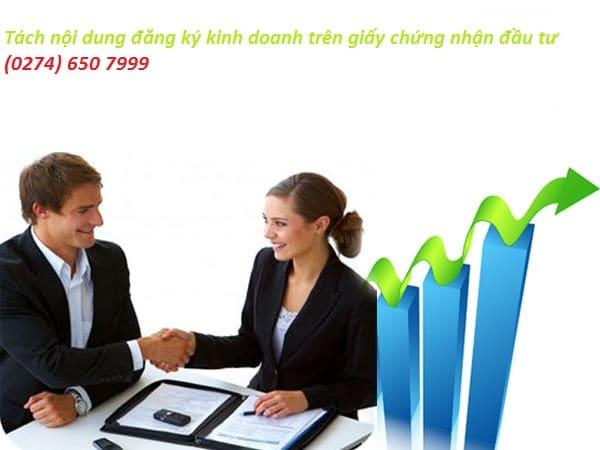 Tách nội dung đăng ký kinh doanh trên giấy chứng nhận đầu tư