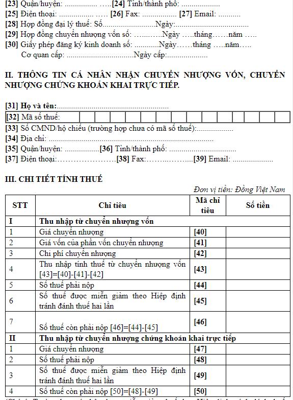 Mẫu tờ khai chuyển nhượng vốn góp công ty TNHH